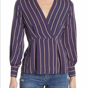 Topshop Striped Surplice Blouse NWT